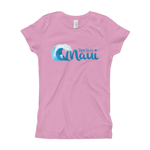 Lilac See Ya In Maui Girls T-Shirt with Wave