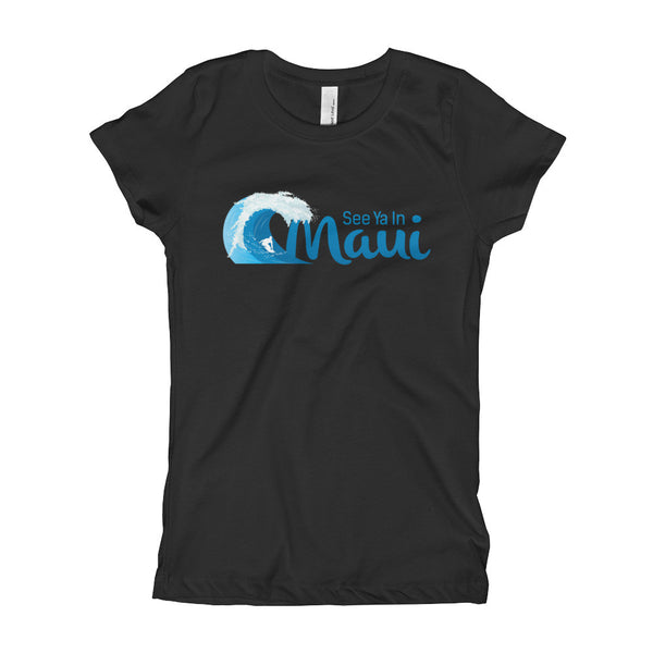 Black See Ya In Maui Girls T-Shirt with Wave