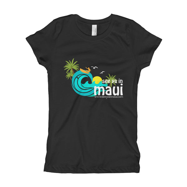 Black See Ya In Maui Girls T-Shirt Island Paradise
