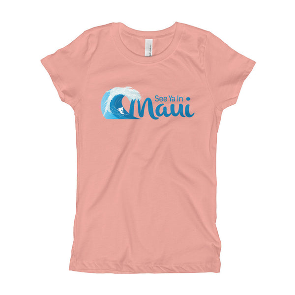 Light Pink See Ya In Maui Girls T-Shirt with Wave