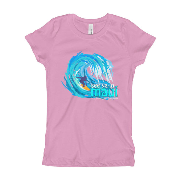 Lilac See Ya In Maui Big Wave Girls T-Shirt