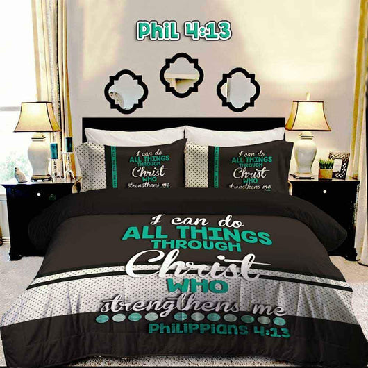 Bible Verse Bedding | Scripture Bedding | Philipians 4:13 duvet | christian bedding