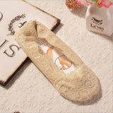 Anti Slip No Show Lace Socks