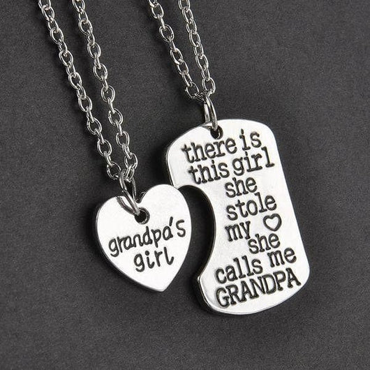 Grandpa-2pc/pair Grandpa & Granddaughter Necklace