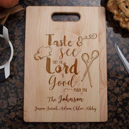 taste and see that the lord is good | bible verse cutting board | christian cutting boards