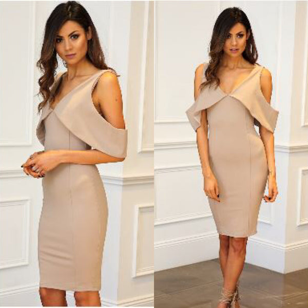 Briana Cold Shoulder Dress in Mocha