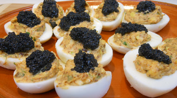 Deviled Eggs With Seaweed Pearls (Vegan Caviar)