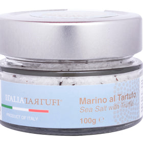 Italia Tartufi - Sea Salt with Dried Summer Truffle 3.52 oz [100 gm] Glass jar- Gourmet Salt Imported from Italy