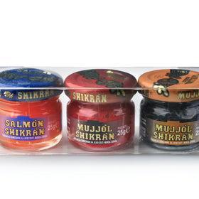 Eurocaviar - Shikran - Pack: 3 x 0.88 oz. Mullet Roe  Black + Mullet Roe Red + Smoked Salmon Pearls