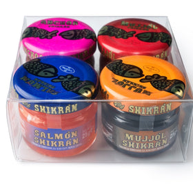Eurocaviar - Shikran - Pack: 4 x 0.88 oz Mullet Roe Black+Mullet Roe Red+Smoked Salmon+Anchovies