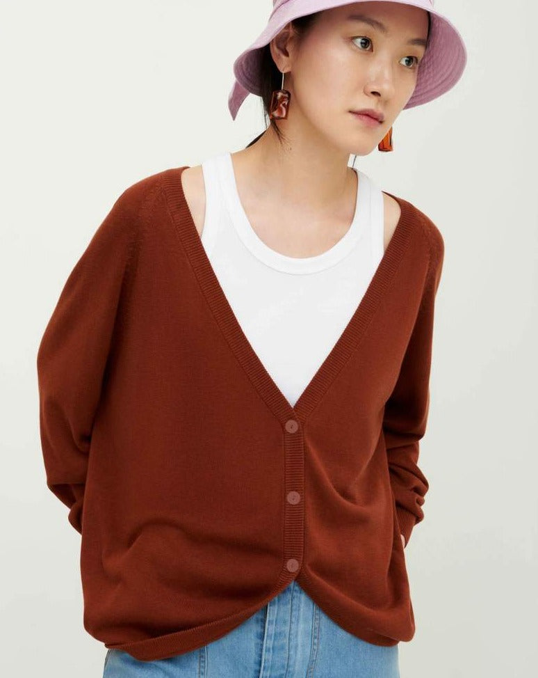 Bell Cardigan Earth Brown