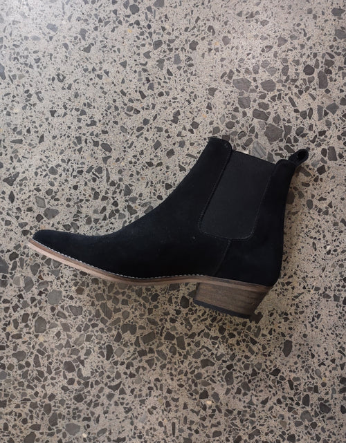 Stella Split Leather Boot Black Suede