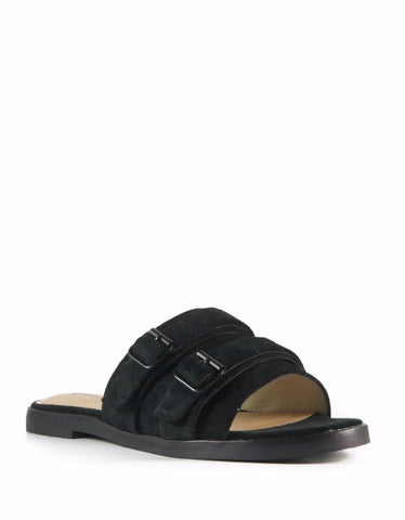 Pool Slides Black Suede