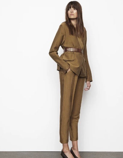 Flow Tailoring Pleat Pant Moss
