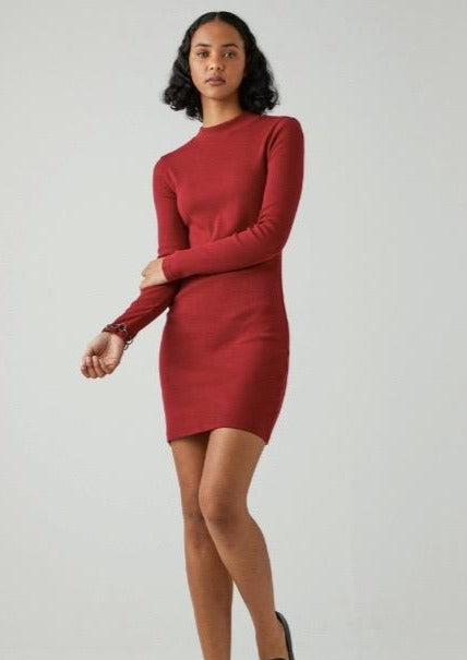 Jonesy LS Dress Deep Red