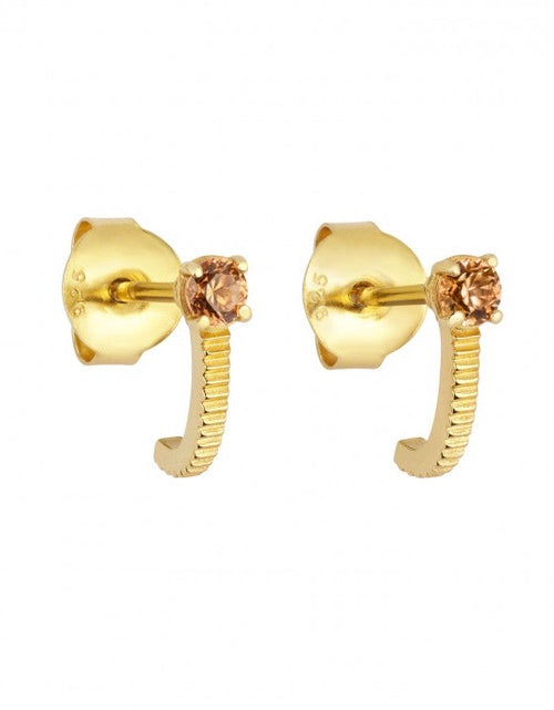Bianca Earrings Brown Zircon Gold