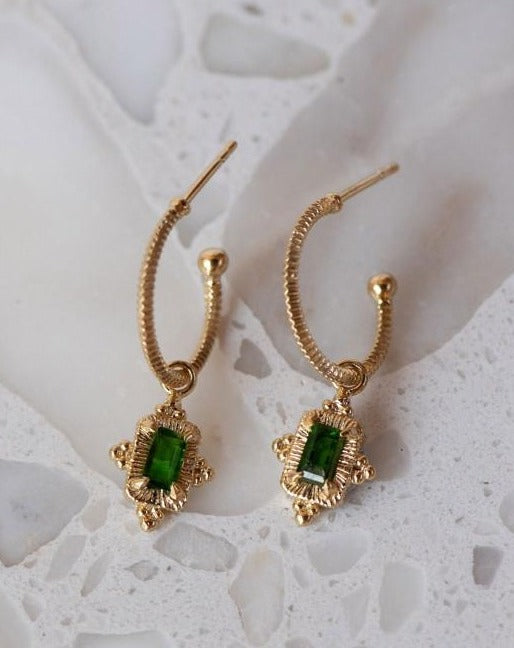 Marina Earrings Gold Chrome Diopside
