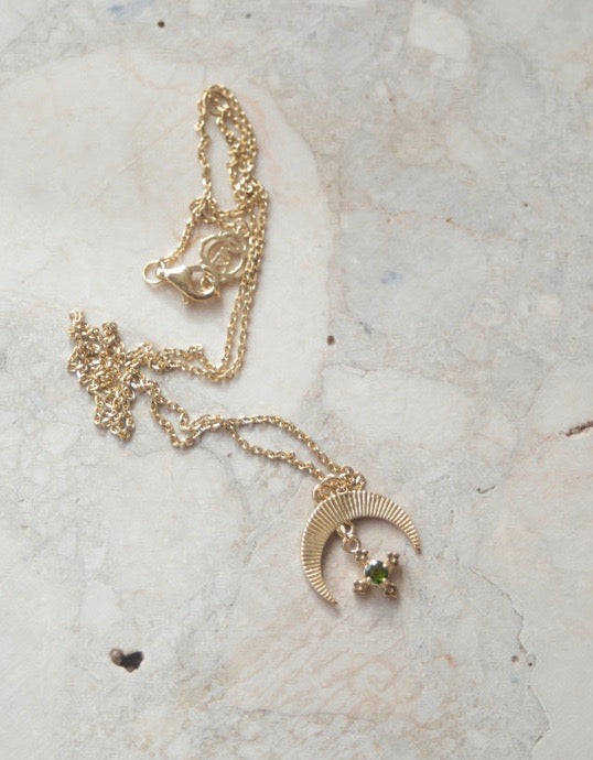 Sasha Necklace Gold Plate / White Zircon