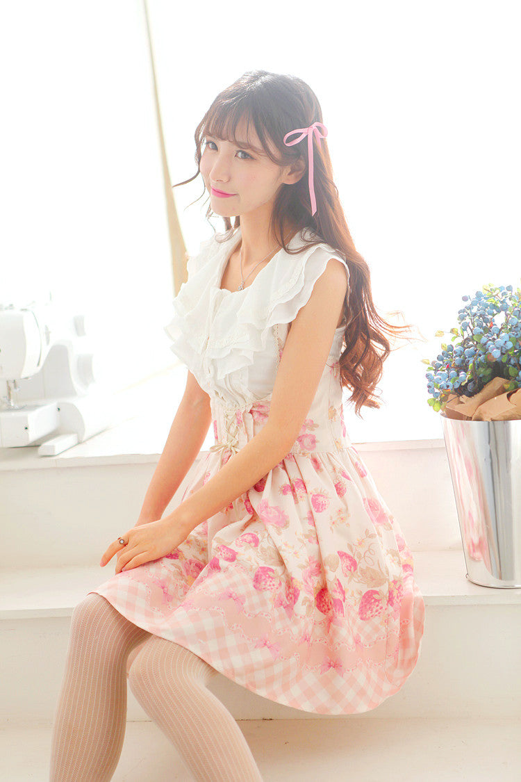 Japanese strawberry pink strap skirt