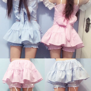 Soft sister baby blue pink cute top skirt