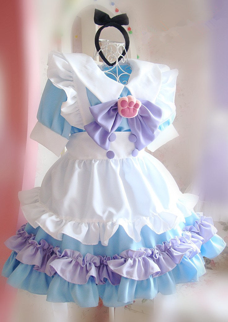 Lolita cat paw pastel maid dress
