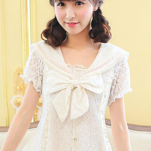 Japanese sweet lace sailor short sleeves dress