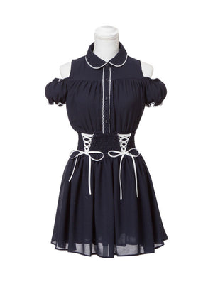 Japanese puff sleeve high waist off shoulder short sleeves dress