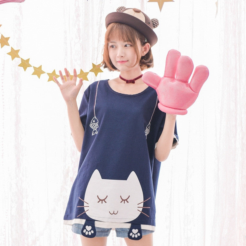 H 1999 Cat Cute Face Linen Cotton Women T-shirt