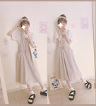 H 1994 Women Loose Cotton Strap Dress