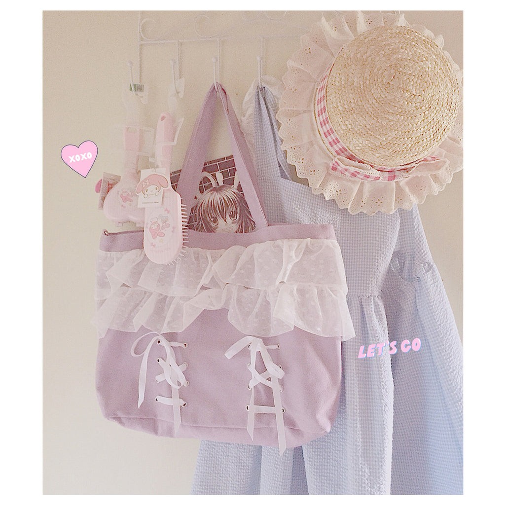 H2017 Kawaii Lace Bandage Shopping Bag