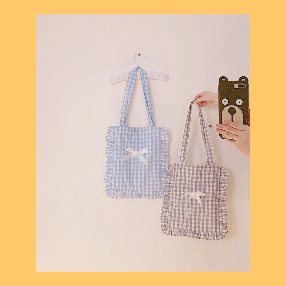 H2018 Falbala Plaid Pillow Hand Bag