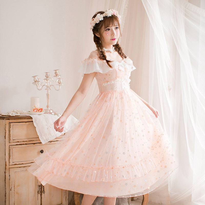 H 1993 Pinky Off-shoulder Chiffon Long Dress