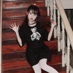 H2007 Skull Bear Black T-shirt Dress