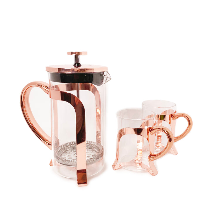 French Press with Two Matching Tea Cups
