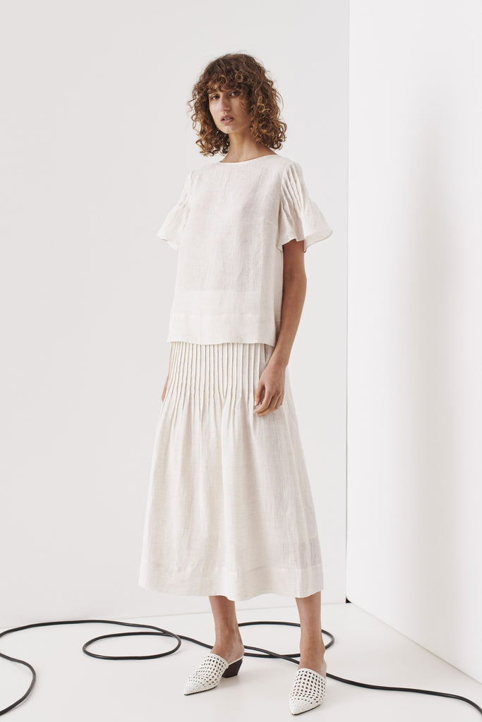 Northcote Pintuck Skirt - Nude Stripe