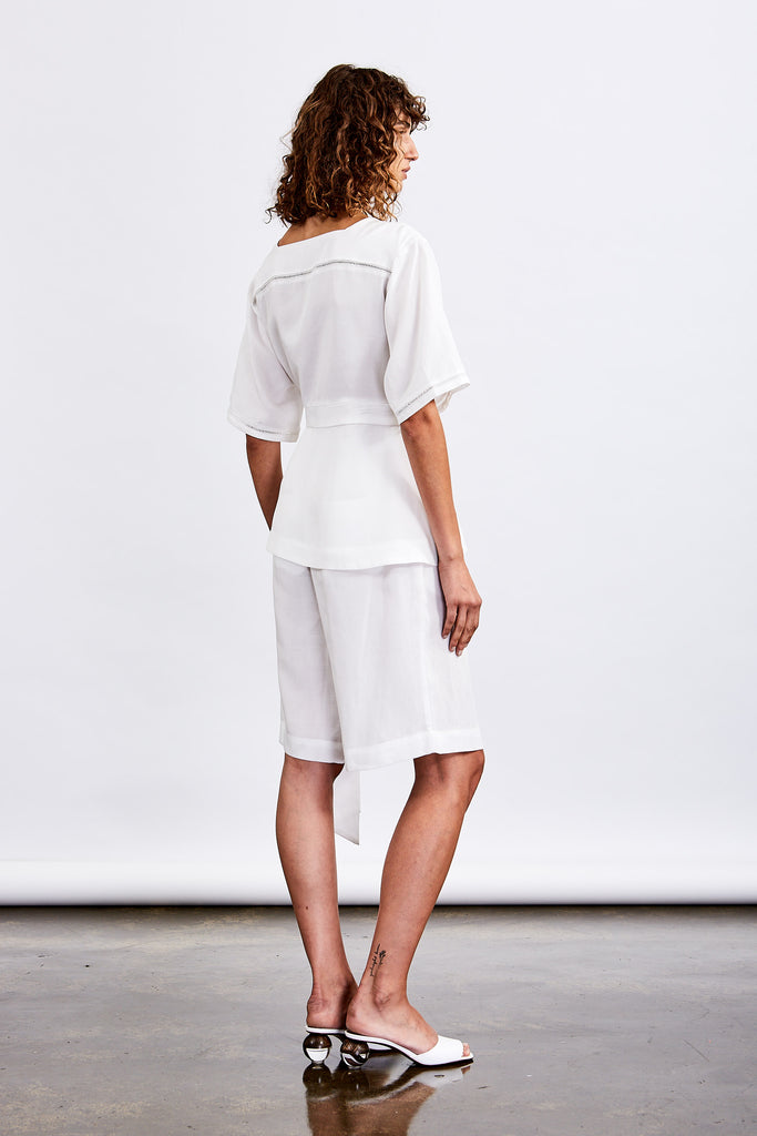 Society Lace Insert Wrap Blouse (White)