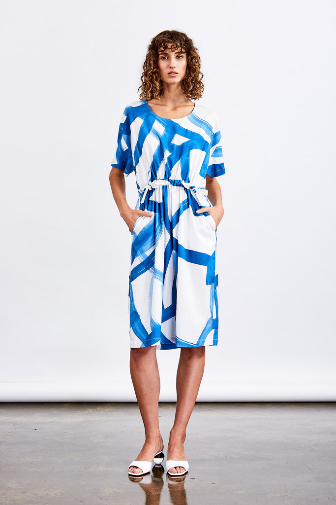 Blue Swirl Print Dress
