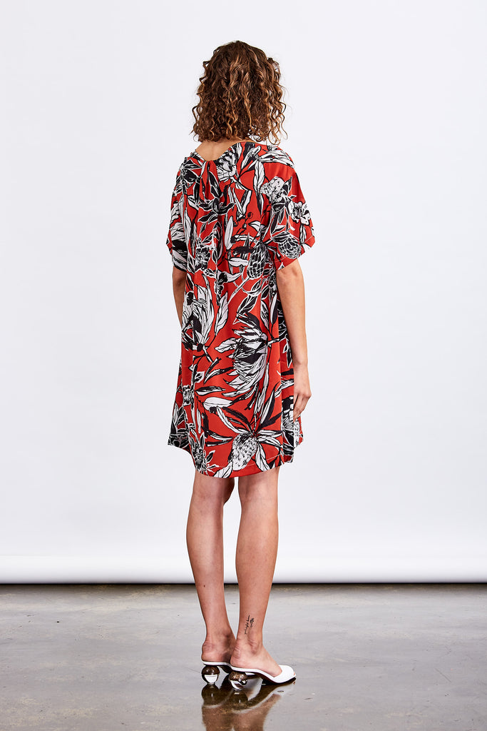 Native Floral Twist Back Dress