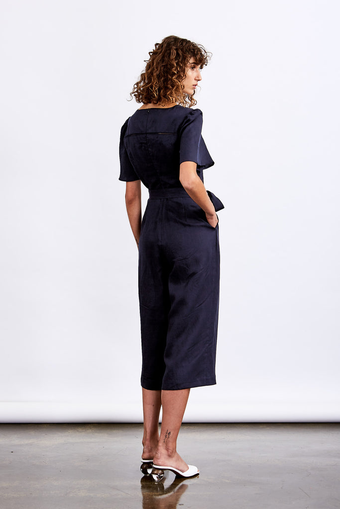 Society Lace Insert Jumpsuit (Navy)