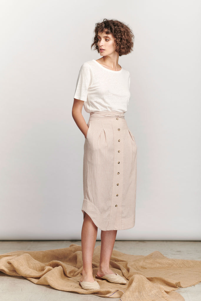 Rowling Skirt - Tan Stripe