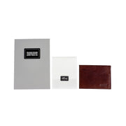 Three Pocket Brown Leather Card Sleeve Wallet - Harrisson Australia