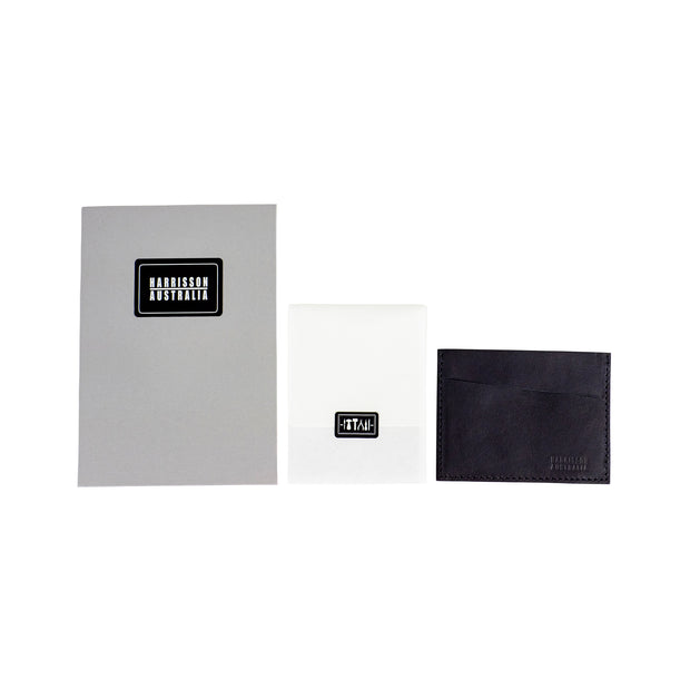 Three Pocket Black Leather Card Sleeve Wallet - Harrisson Australia