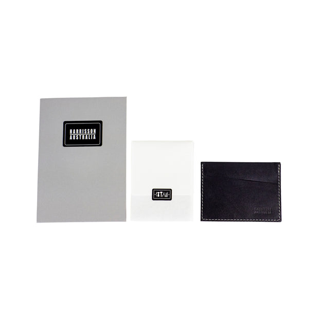 Three Pocket Black Leather Card Sleeve Wallet With Grey Stitching - Harrisson Australia