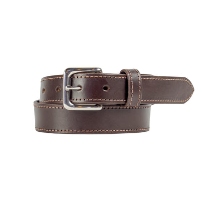 32mm Stitched Brown Leather Belt - Harrisson Australia