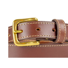 Load image into Gallery viewer, 32mm Stitched Cognac Leather Belt