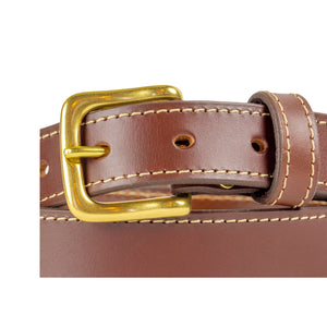 32mm Stitched Cognac Leather Belt