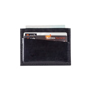 Five Pocket Black Leather Card Sleeve Wallet - Harrisson Australia