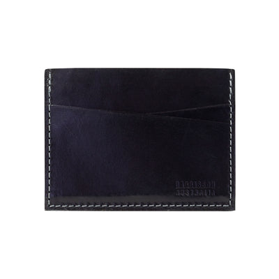 Five Pocket Black Leather Card Sleeve Wallet With Grey Stitching - Harrisson Australia