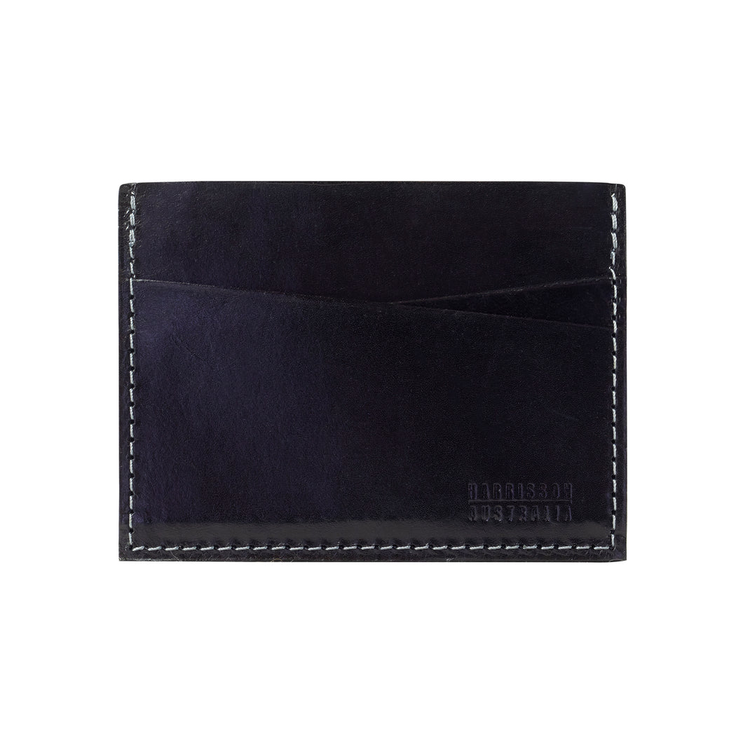 Five Pocket Black Leather Card Sleeve Wallet With Grey Stitching