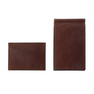 Brown Billfold With Matching Card Sleeve Wallet